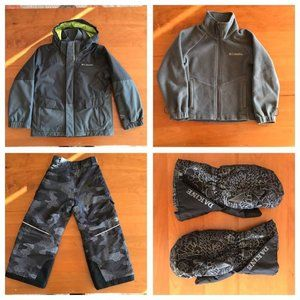 Columbia boys size XXS ski jacket, plants, gloves